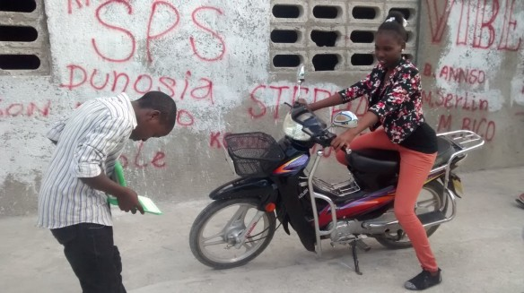 Finally our young photographers were so confident, they even borrowed a motorcycle as a prop.