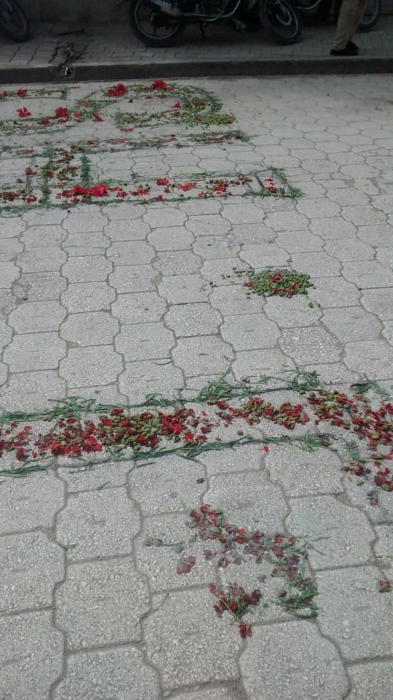 Decorations on the street to celebrate Fèt Bondye, a religious holiday.