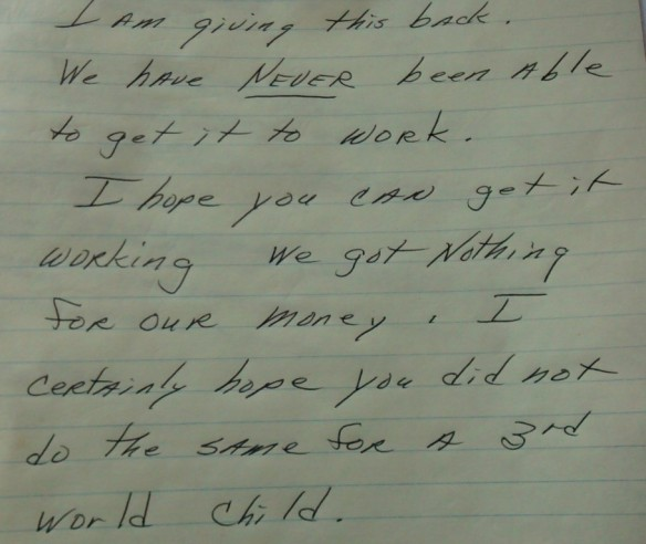 Letter that came with one of the donated laptops.