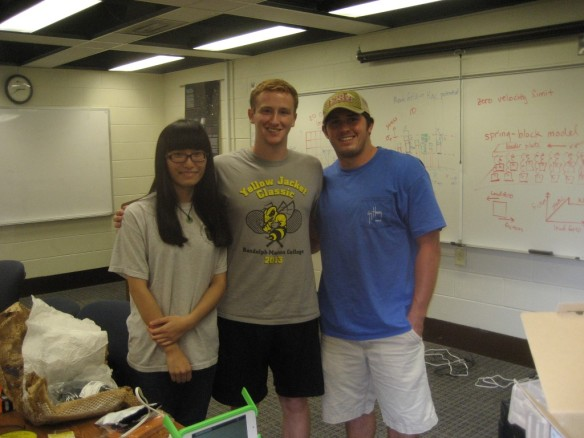 The solar team at Randolph-Macon. Shuyan, Conner, Dan.